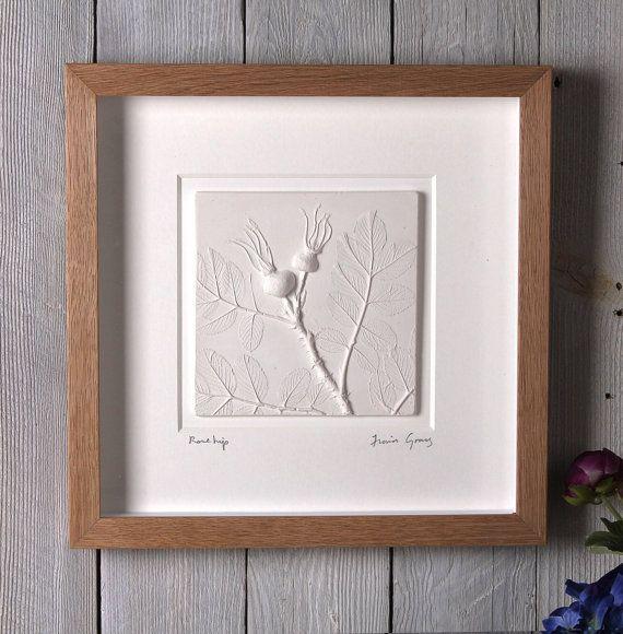 Rose Hip plaster cast tile framed limited by FionaGrayDesigns