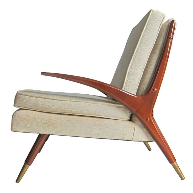 Mid-Century Modern Chair in the style of Franco Albini  USA  1950's  This jaunty modern lounge chair puts it best feet forward in paying homage to Franco Albini's Fiorenza lounge.     Original upholstery. Solid brass sabots (quality casting). Sculptural profile.