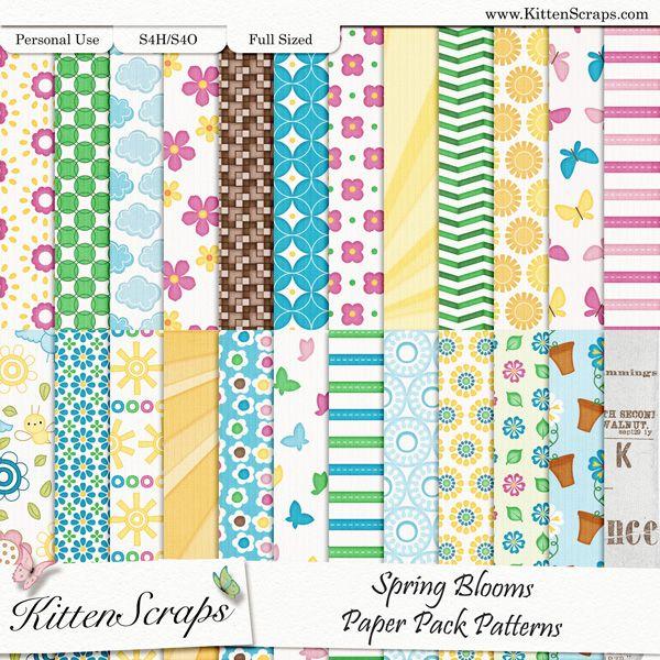 Spring Blooms Paper Pack-Patterns  created by KittenScraps, Digital Scrapbooking