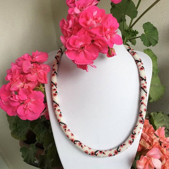 Christmas gift Sakura Necklace Cherry Blossom Bead Crochet