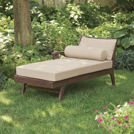 Better Homes and Gardens Cawood Place Chaise Lounge, Natural Cushion, Expresso. Expresso Finish , Weathered wood finish. Cushions: weather-resistant olefin fabric; polyurethane foam pad and polyester fiber batting cushion filling. Reversible single armrest. X back comtemporary style. Assembled Product Dimensions (L x W x H) 30.25 x 67.25 x 32.25 Inches.