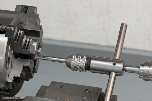 Tapping on the lathe