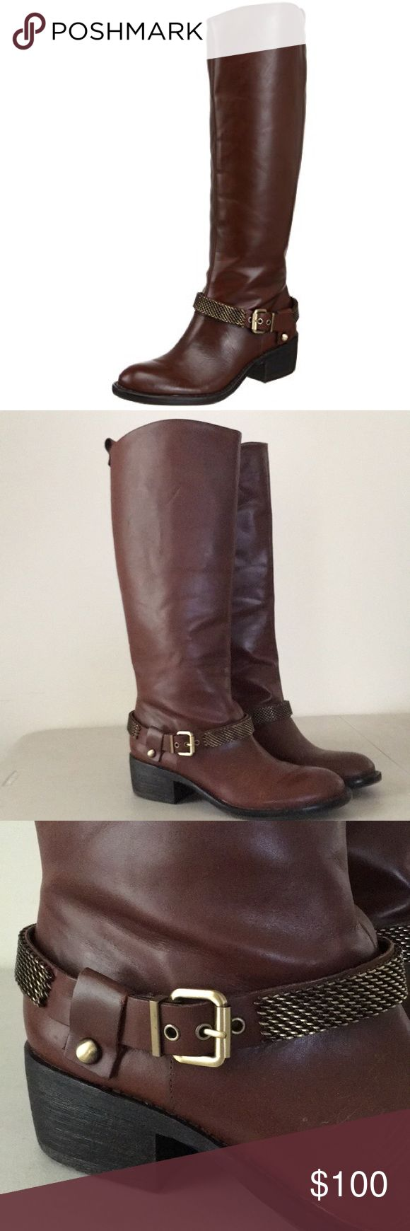 """BCBGeneration Alender riding boot BCBG Alender knee-high riding boot. Color castagno (brown). Sz 10m.  Leather with synthetic sole, beautiful leather and metal strap with buckle. shaft is 161/2 in from arch, heel is approx 1 3/4"""" boot opening approximately 14 3/4"""" around.  Shaft height 17"""", shaft circumference approx 15"""" Pull on equestrian style boot Great boot to wear with pants leggings and skirts. Worn once.  $100 or best offer BCBGeneration Shoes Heeled Boots"""