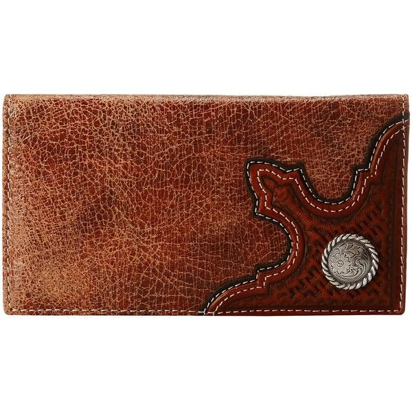 M&F Western Basket Corner Concho Rodeo Wallet (Brown) ($39) ❤ liked on Polyvore featuring men's fashion, men's bags, men's wallets, mens leather wallets, mens western leather wallets, mens western wallets and mens brown leather wallet