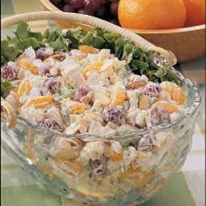 Creamy Chicken Salad with almonds, mandarin oranges and grapes