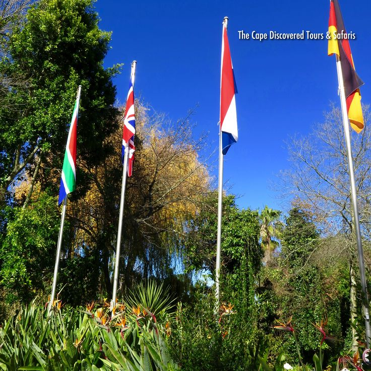 Flags and flowers at Zevenwacht wine estate, Stellenbosch, South Africa.