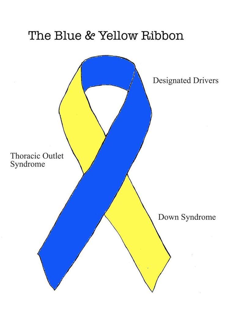 blue and yellow ribbon - down syndrome, designated drivers, thoracic outlet syndrome