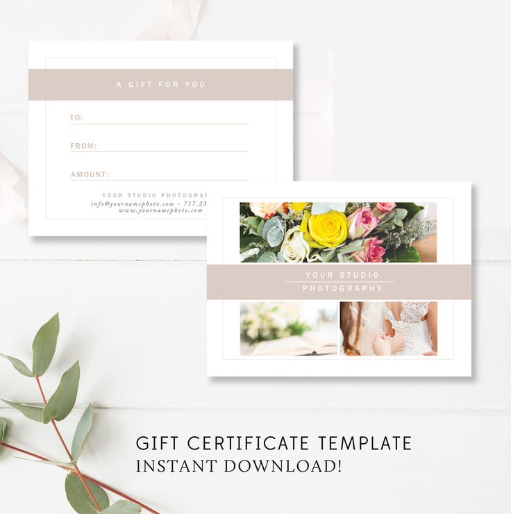 Gift Card Templates for Photographers THIS IS THE PERFECT GIFT CARD FOR NEW AND EXISTING CLIENTS! This template is an *INSTANT DOWNLOAD* -------------------------------------- INCLUDES -------------------------------------- - fully-layered .psd files - designed to be printed at any local or online p