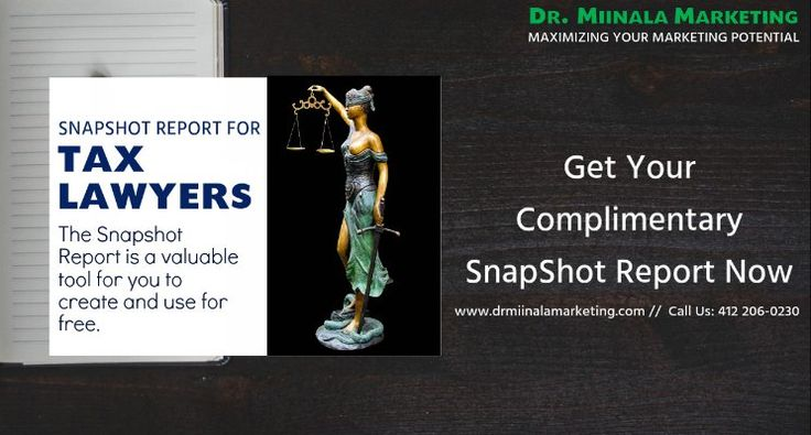 Dr. Miinala Marketing is now offering free snapshot reports on the online reputation of tax lawyers. As can be seen on Dr. Miinala Marketing's Facebook page at https://www.facebook.com/drmiinalamarketing/, the company focuses specifically on providing people information on how to increase website traffic, often focusing on specific industries. The snapshot is designed to show how tax lawyers are faring when it comes to their reputation on the internet so that they can do something about it…