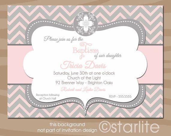 Chevron Ornate Cross - Baptism Invitation Pink and Gray Grey - Christening, Dedication, Blessing PRINTABLE Invitation Design