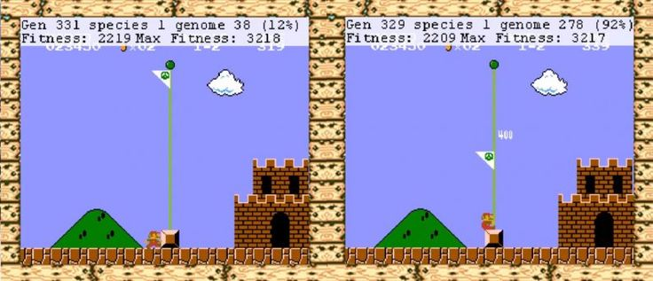 This live-stream of AI learning to play Super Mario Bros is awesome