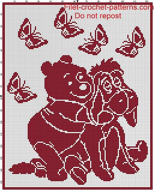 Baby blanket Winnie the Pooh filet crochet pattern