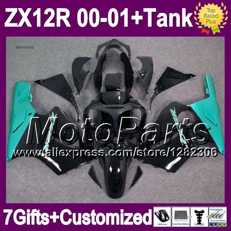 Голубой черный 7 подарки + майка для KAWASAKI ZX12R ниндзя ZX-12R 00 01 2 * 131 ZX 12R 00 - 01 ZX 12 R 2000 12R 2001 зализа голубой черный