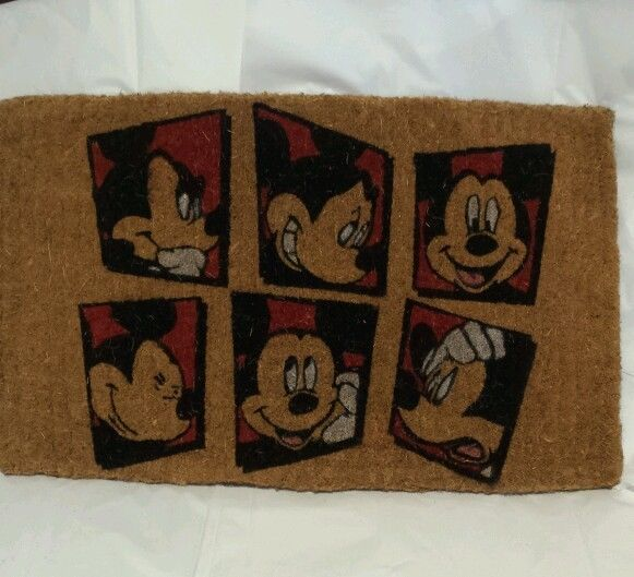 New Mickey Mouse Disney Six Square Pattern Coir Rug