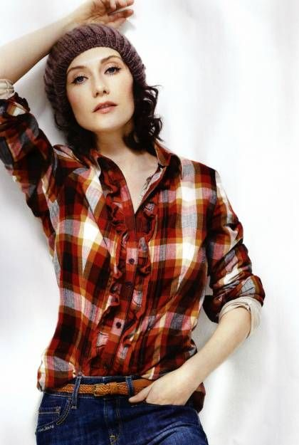 Carice Van Houten in Red Checkered with Ruffle