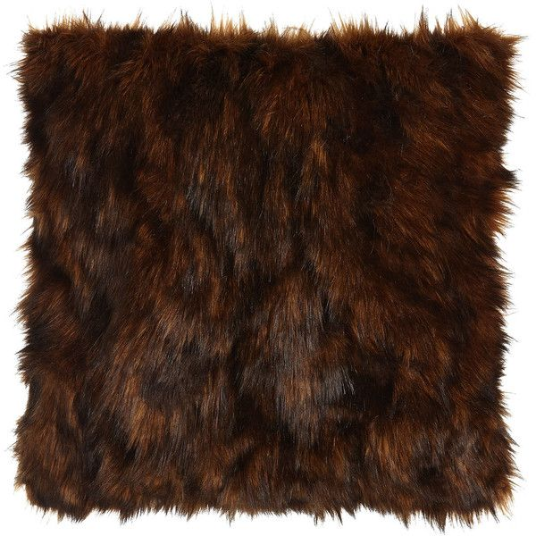 Isabella Collection Lantana Chocolate Faux-Fur Pillow found on Polyvore featuring home, home decor, throw pillows, chocolate, faux fur throw pillow, chocolate brown throw pillows and dark brown throw pillows