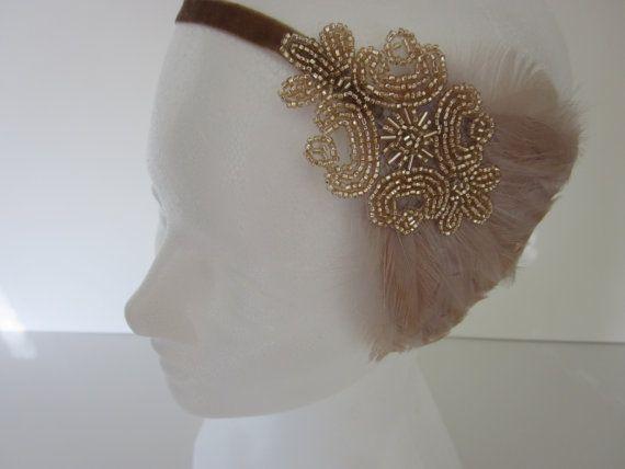 CHAMPAGNE BEADED Headpiece, 1920s Hair Accessory, Flapper Champagne Headband…