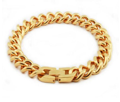 A timeless and rich looking accessory is stunningly affordable. This men's stainless steel bracelet has a classic link design with gold tone PVD coating in a high polish finish. A fold-over clasp completes this 9.3mm by 8 inch metallic wristband. To know more visit - http://www.justmensrings.com/Mens-Stainless-Steel-Link-Bracelet-With-Gold-Tone-PVD-Coating_p_1469.html