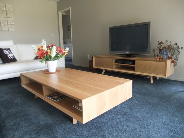 Solid White Oak Coffee Table and Media Unit