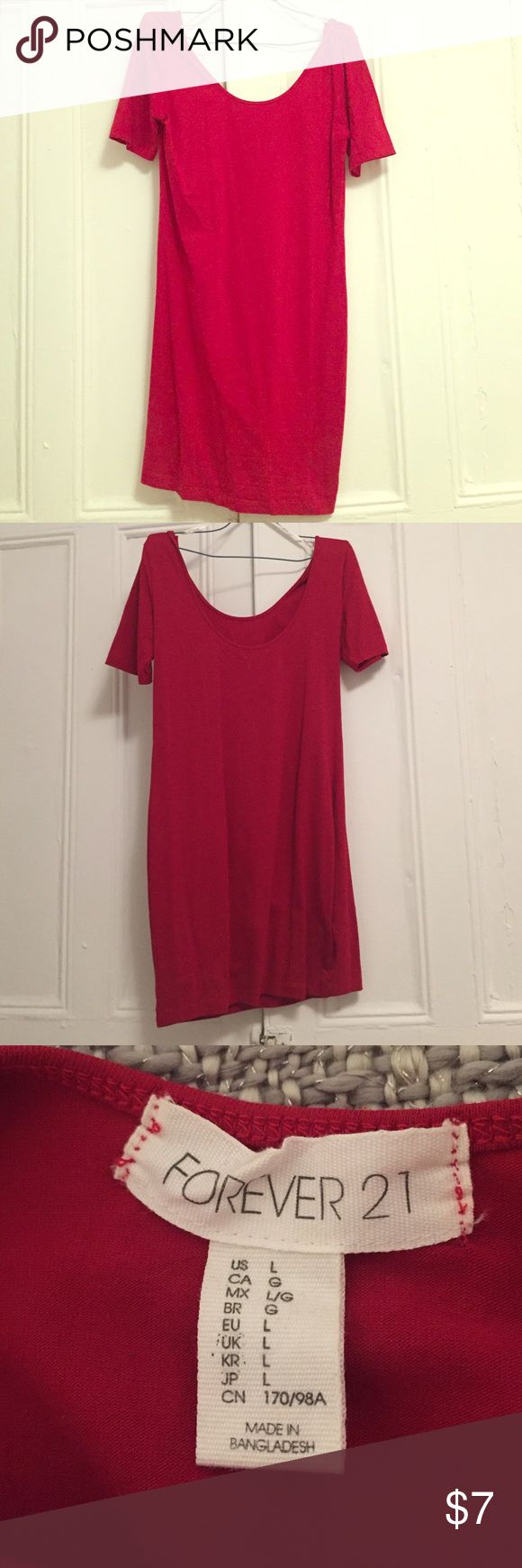 Red NWOT Forever 21 Body Con Dress w/Sleeves Cute sleeved red body con dress. I bought it for a Christmas themed pub crawl but never wore it. In perfect condition. Could fit a medium. Easily dressed up or great to stay casual in. Great for a devil Halloween costume.  I'm a fast shipper! Forever 21 Dresses Mini