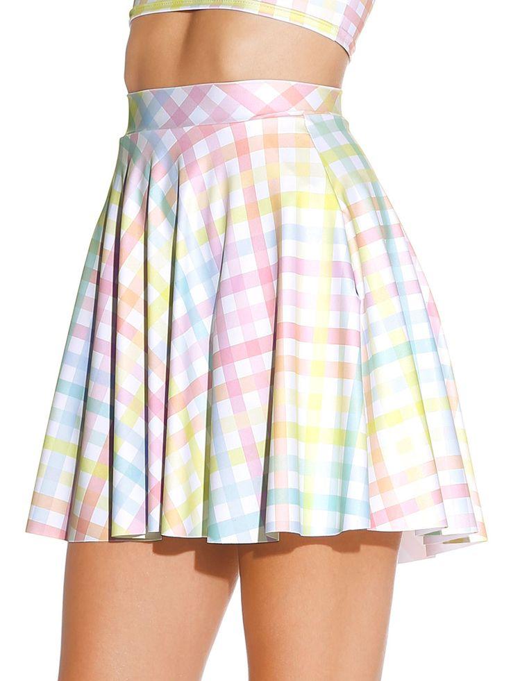 Gingham Sorbet Pocket Skater Skirt - LIMITED (AU $65AUD / US $45USD) by Black Milk Clothing