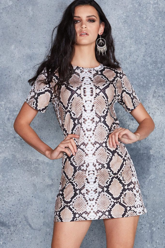 Brown Serpent Tee Dress - 48HR ($80AUD) by BlackMilk Clothing