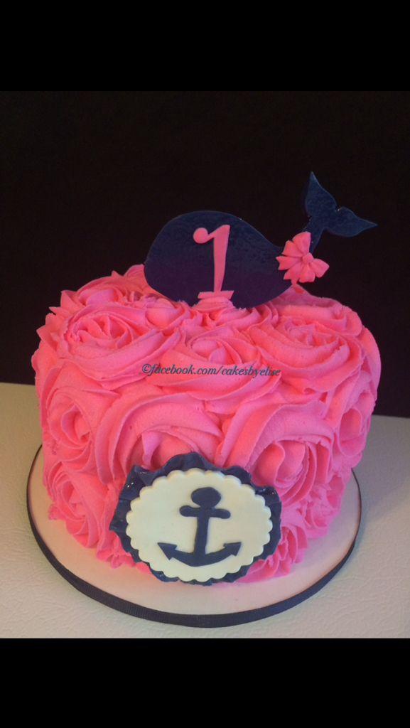 Nautical 1st birthday smash cake! Pink and navy whale smash cake. Cakes by Elise. www.facebook.com/cakesbyelise