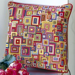Kaffe Fassett needlepoint; buy this kit or get pattern from his book Glorious Interiors