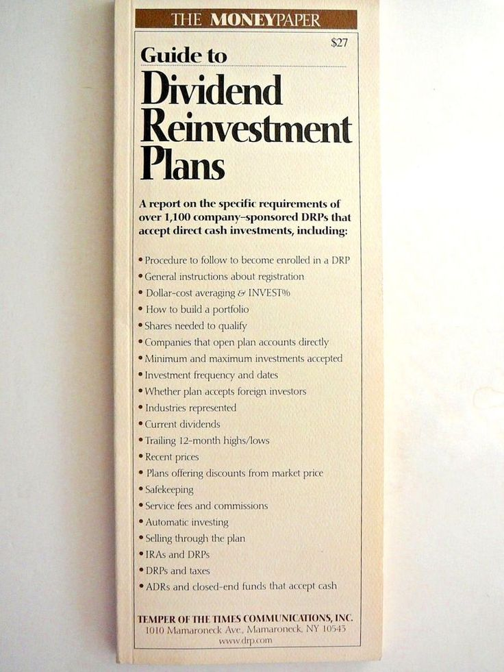 Moneypaper Guide to Dividend Reinvestment Plans DRP 1998 Investment Advice New