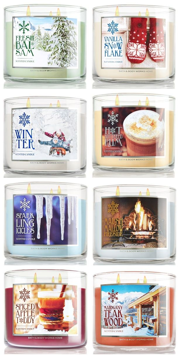 bath and body winter candle scents | Nouveautés Bath and Body Works