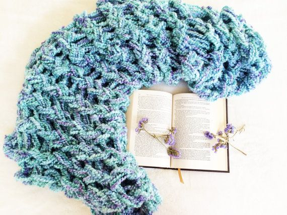 Arm Knitting Blue and Purple Throw Blanket Book Flowers Knit Textiles DIY