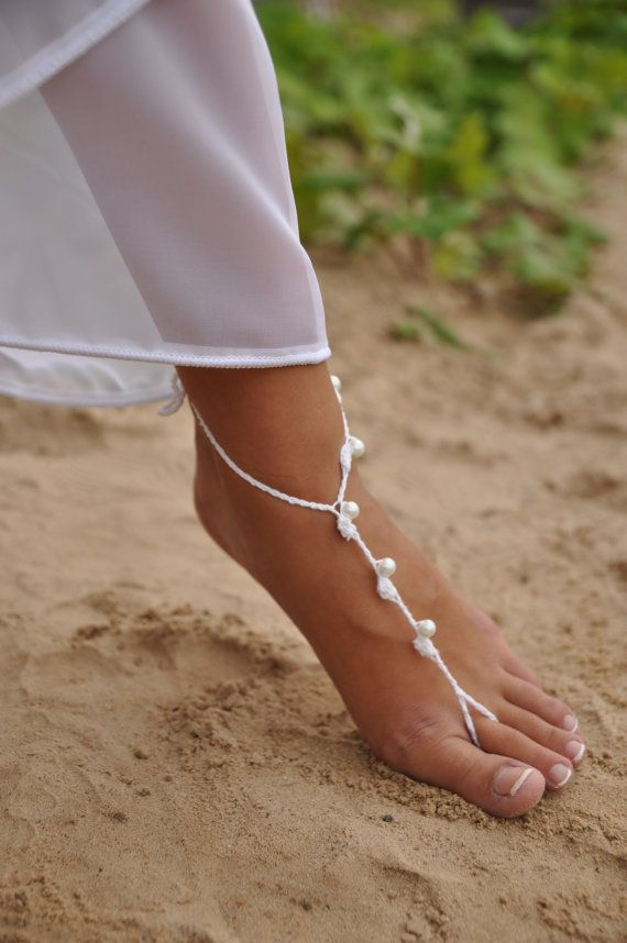 Casamento de praia branca e pérola Crochet Casamento Descalço barmine