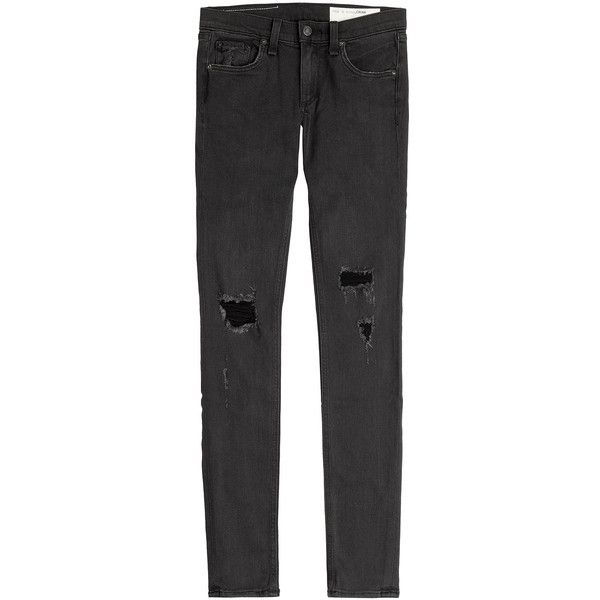 Rag & Bone Distressed Skinny Jeans ($200) ❤ liked on Polyvore featuring jeans, pants, bottoms, trousers, black, torn jeans, destroyed jeans, ripped skinny jeans, super skinny jeans and destructed skinny jeans