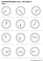 derde leerjaar: Werkbladen kloklezen