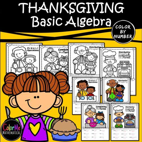 THANKSGIVING DINNER - Basic Algebra Color By Number ...