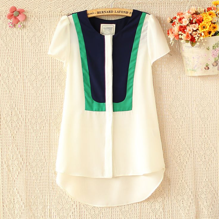 new fashion color patchwork decoration women blouses summer short sleeve chiffon female shirts blusas femininas chifon camisas US $9.28 - 12.69