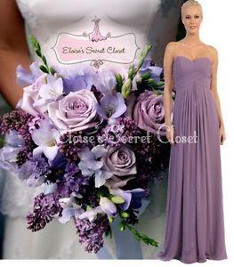Emma Lavendel Violett Chiffon Trägerlos Brautjungfer Ball Abendkleid UK 6 18 | eBay
