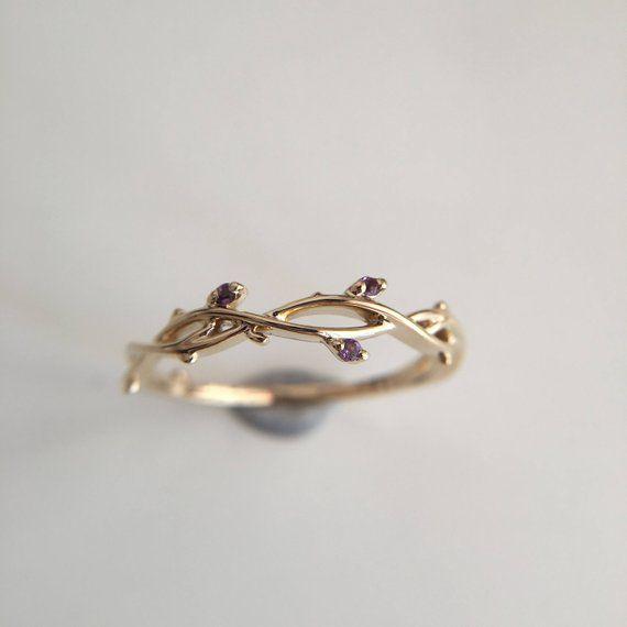 0,03 Karat Amethyst Band Amethyst Ring Rose Gold Band Rotgold Ring Baum Ast Ring Baum Ast Band lila Stein Ring
