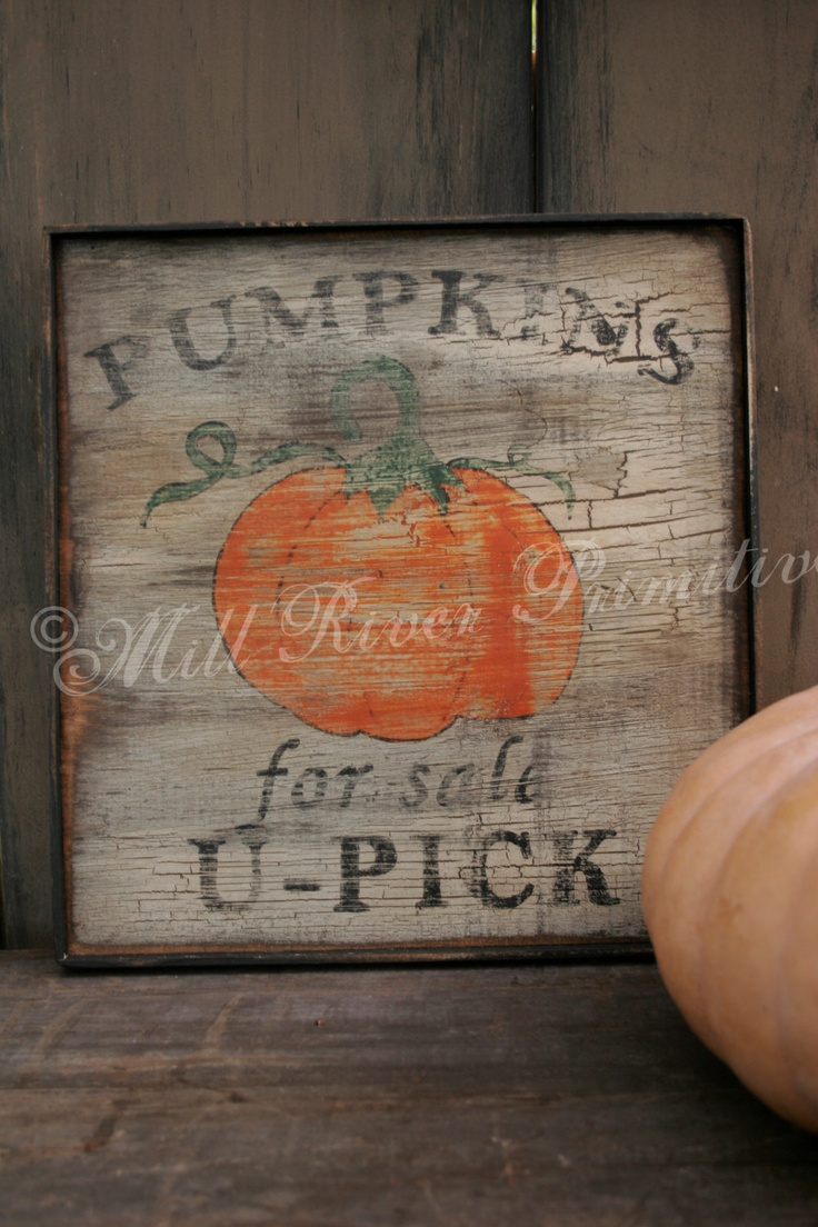 Primitive U-Pick Pumpkins for sale wood sign. $32.00, via Etsy.