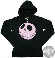 Nightmare Before Christmas Jack Face Full Zipper Hooded Sweatshirt. Nightmare Before Christmas Pink Jack Hoodie Just in time for Halloween, this Nightmare Before Christmas hoodie features a large image of Jack Skellington's, well, face! Available in junior sizes, this Nightmare Before Christmas Hoodie is black with a full length zipper and two pockets. This warm and comfortable hooded sweatshirt is the perfect covering for wandering around on a long, chilly Halloween night!. Price: $47.99