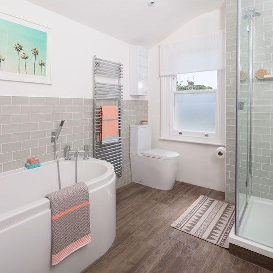 The 25 best peach bathroom ideas on pinterest for Peach tile bathroom ideas