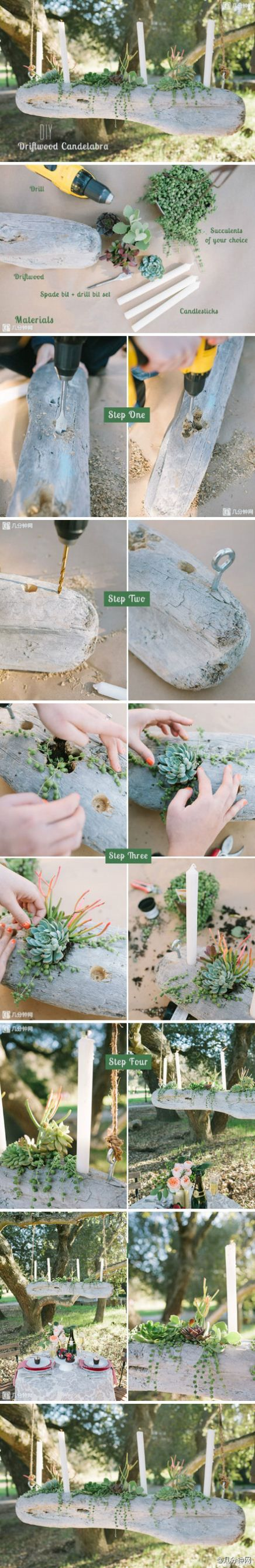 "I like this better without the candles, unless it is used for a table decoration like on a picnic table.   Great idea though, especially if you throw in some ""planted"" moss on part of it.  I would use a different wood.  The wood in the pic looks like stone, and stones don't hang in the air."