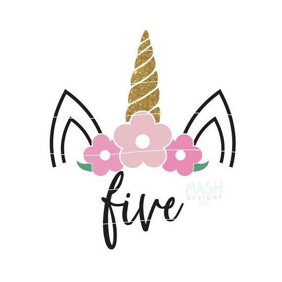 Quinto cumpleaños unicornio svg svg de cumpleaños Unicornio