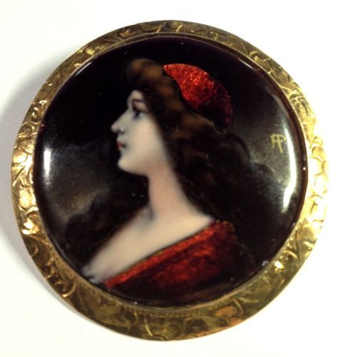 Antique stunning 14k gold enamel portrait brooch pin for Hand painted portraits from photos
