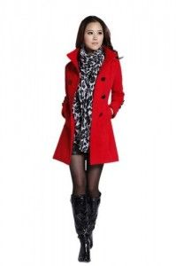 Jackets  Huafeng Womens Double Breasted Woolen Jacket Coat Red 8 Promo Offer