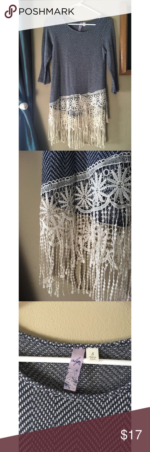 Fringe Blouse Blue and creme patterned blouse, stretchy fabric and 3/4 length sleeves. Beautiful fringe bottom in great condition!! 🗾 from Francesca's Collections. Alya Tops Blouses
