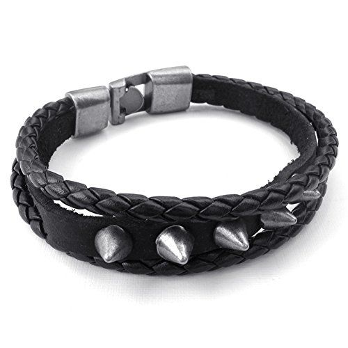 * Penny Deals * - TEMEGO Jewelry Mens Leather Braided Bracelet,Rivet Punk Rock Cuff Bangle, Black Silver -- Read more at the image link.