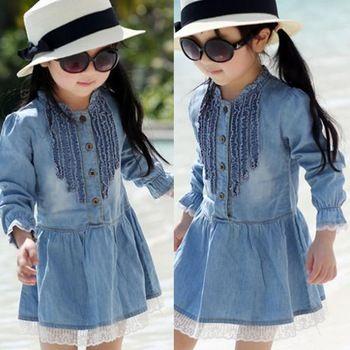 Criança crianças bebê luva longa das meninas Denim vestido de renda flor das calças de brim Hem vestidos de uma peça grátis frete