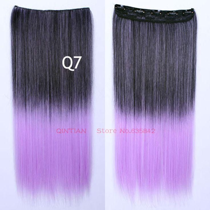 Клип наращивание волос в s синтетического прямо 24 дюйм(ов) 60 см Q7 светло-фиолетовый ломбер 5 зажим(ов) градиент рампы цвет шиньоны нарезать
