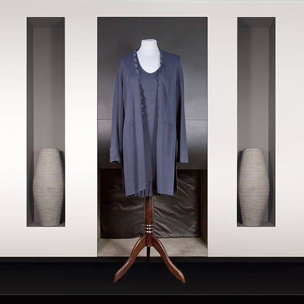 Rodika Zanian : Ensemble robe et manteau Longueur genoux En maille lourde bleu marine